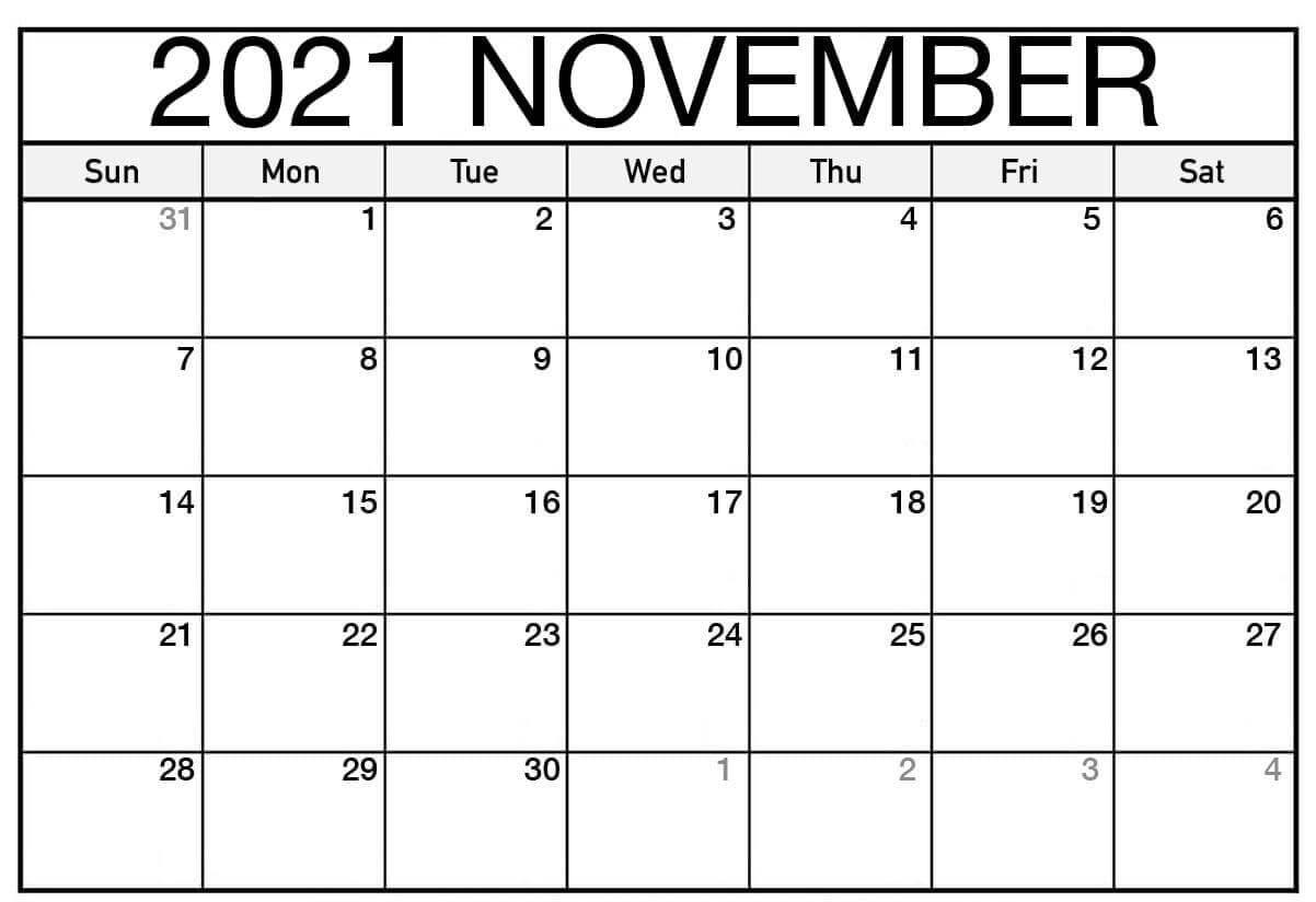 Editable November 2021 Calendar Template