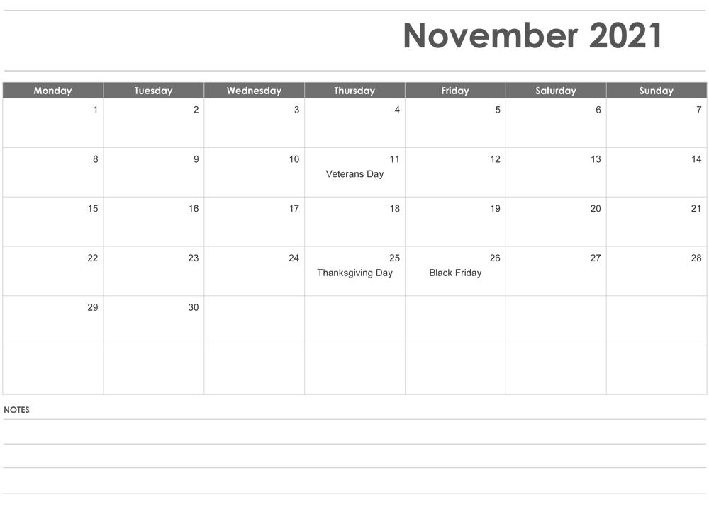 Editable November 2021 Calendar with Holidays