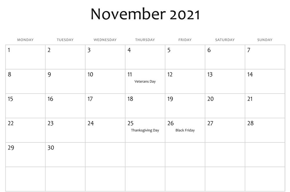 Editable November Calendar 2021 Blank