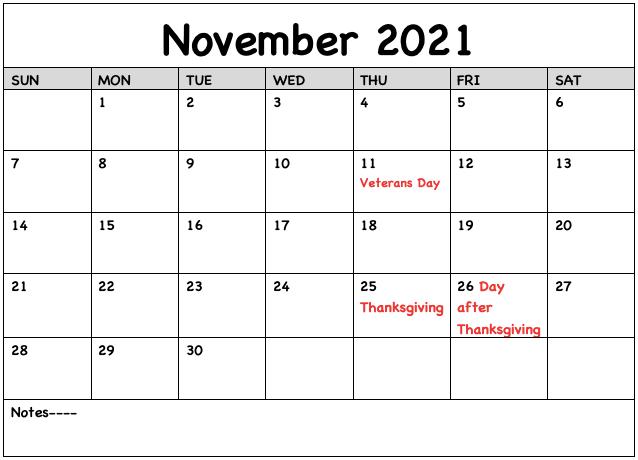 Editable Novmeber 2021 Calendar with Holidays