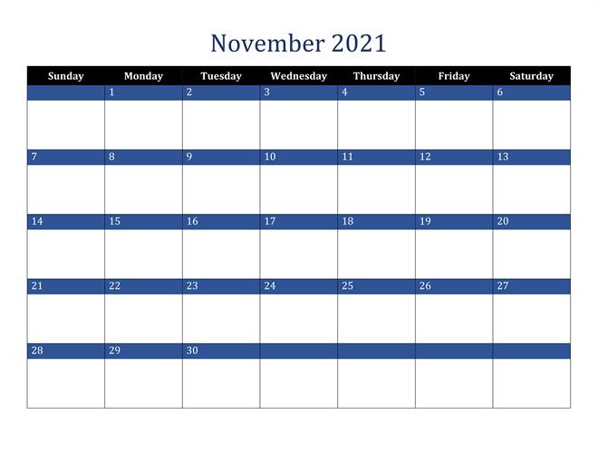 Editable November 2021 Calendar With Notes