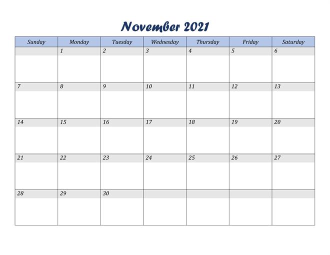 Fillable November 2021 Calendar Word