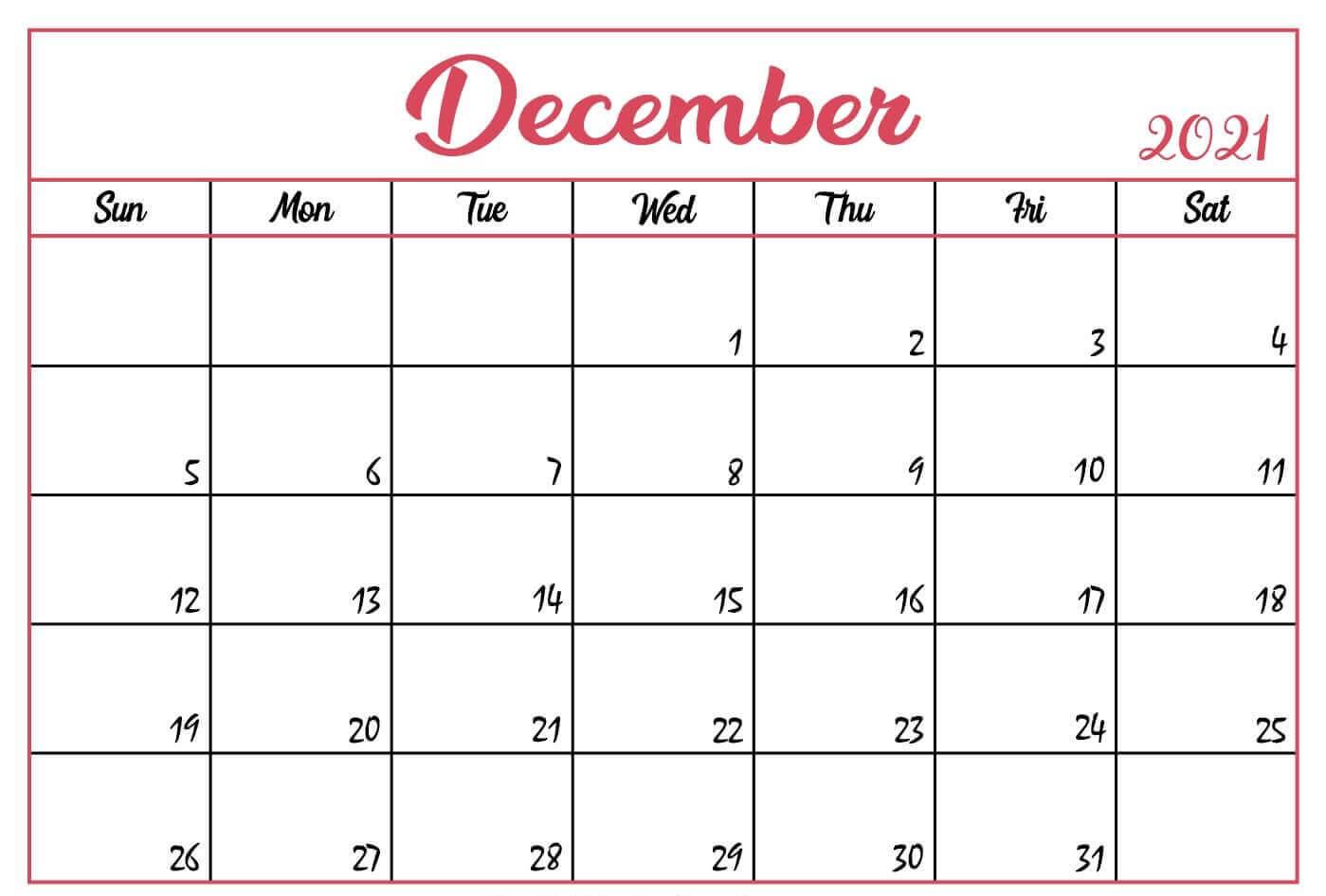 Monthly December 2021 Calendar PDF