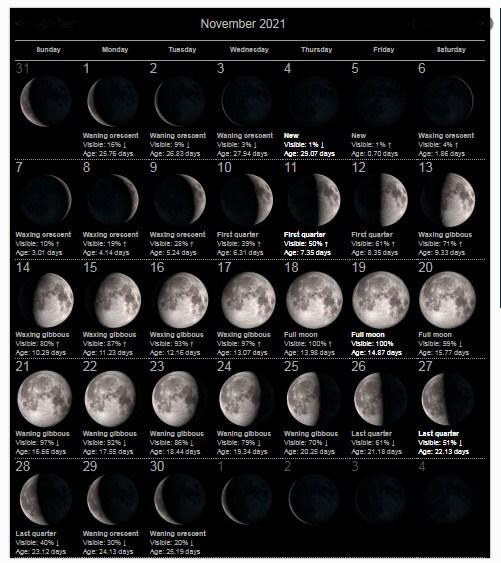 Moon Phases November 2021