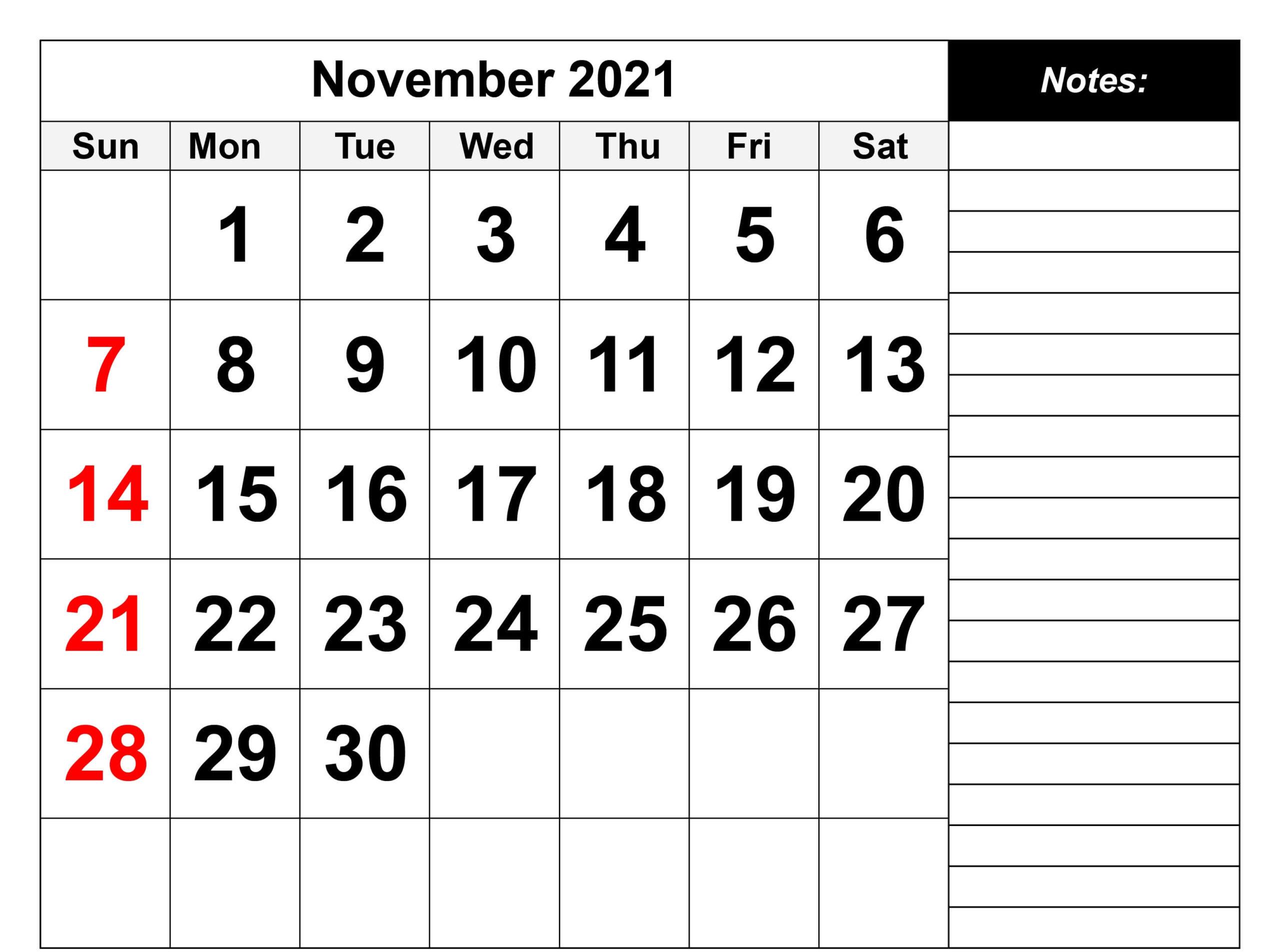 November 2021 Calendar Editable