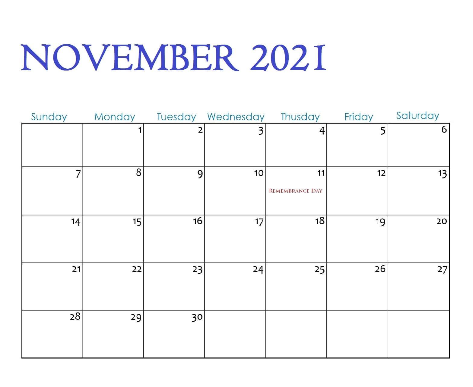 November 2021 Calendar Fillable