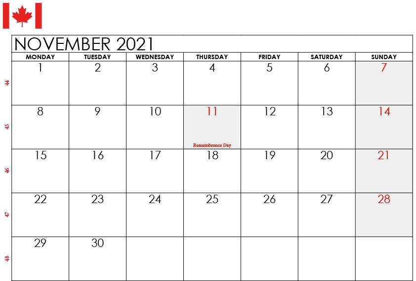 November 2021 Calendar with Holidays Canada