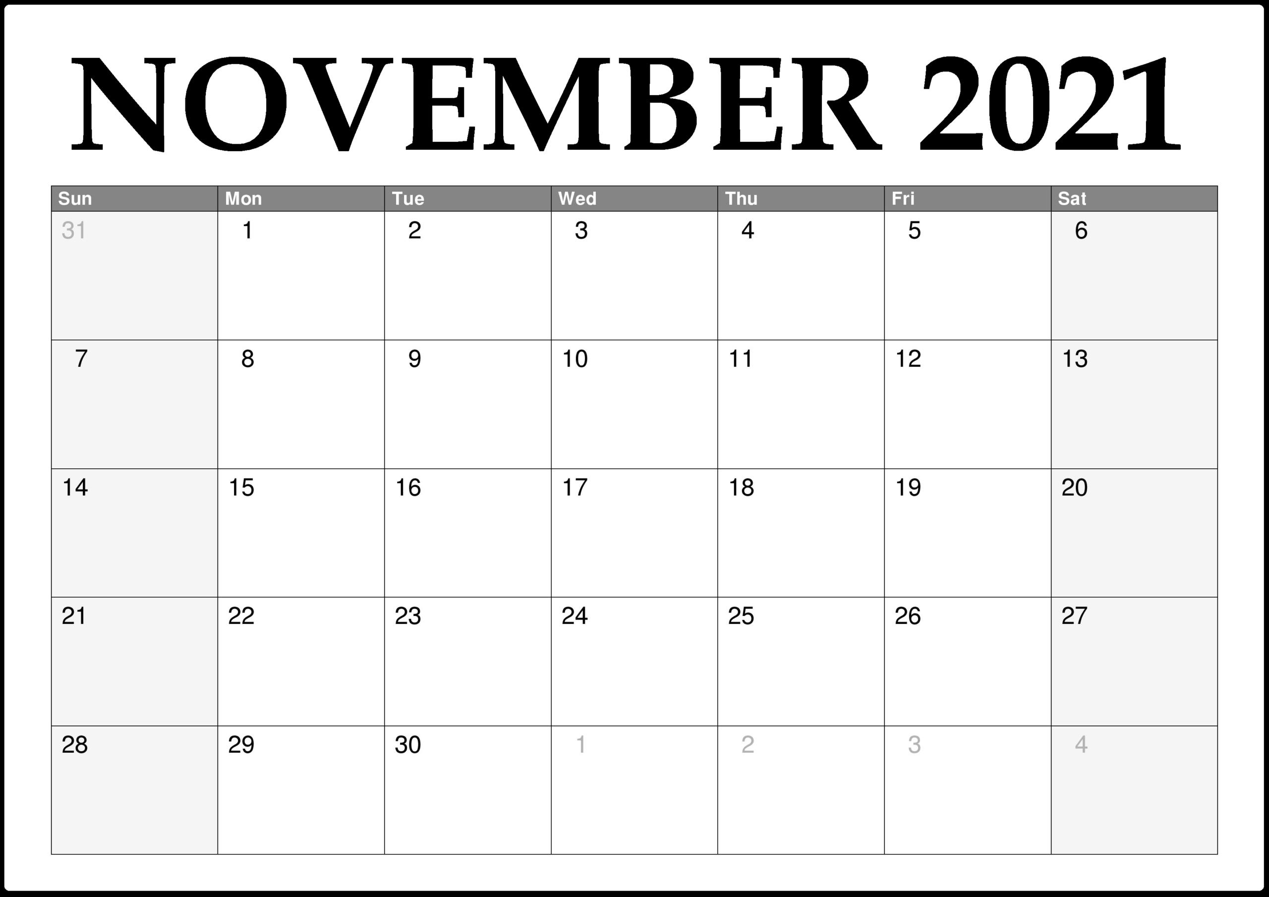 November 2021 Editable Calendar