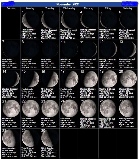 November 2021 Lunar Calendar