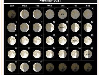 November 2021 Moon Calendar