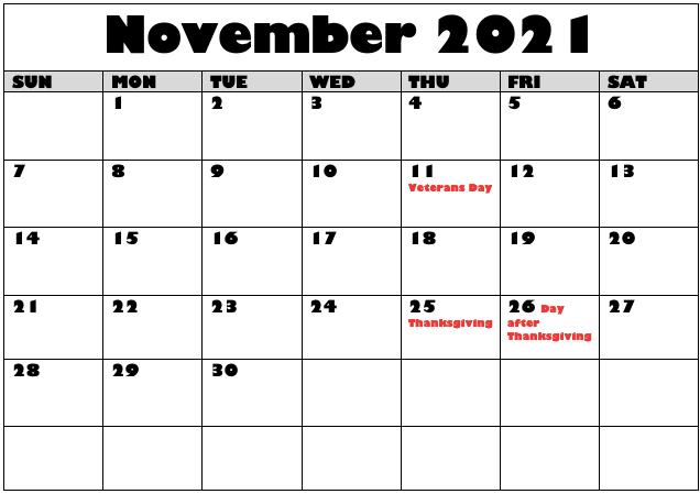November 2021 Public Holidays Calendar