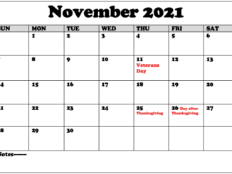 Printable November Holidays 2021 Calendar Template 1