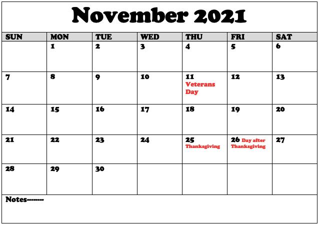 November 2021 UK Holidays Calendar