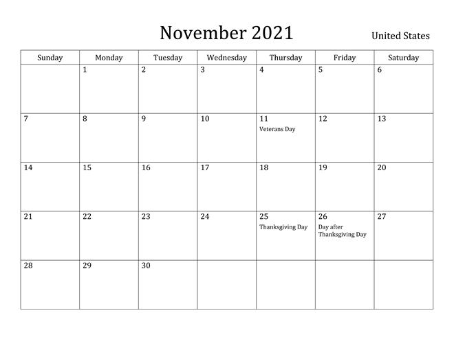 November 2021 United States Holidays Calendar