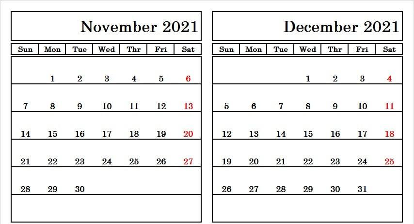 November December 2021 Calendar Template