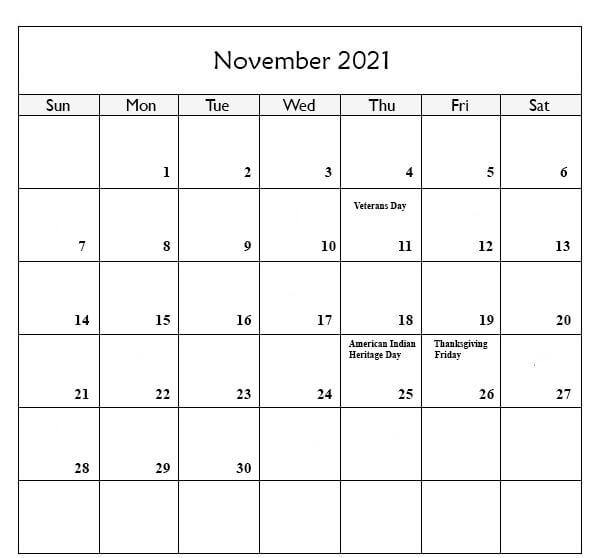 November Holidays Calendar 2021