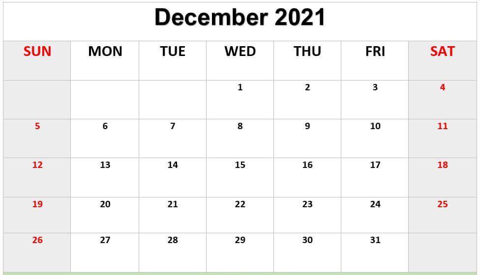 Print December 2021 Calendar A4 Size