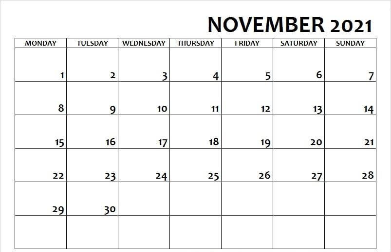 Print November Calendar 2021