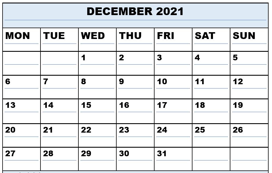 2021 December Editable Calendar