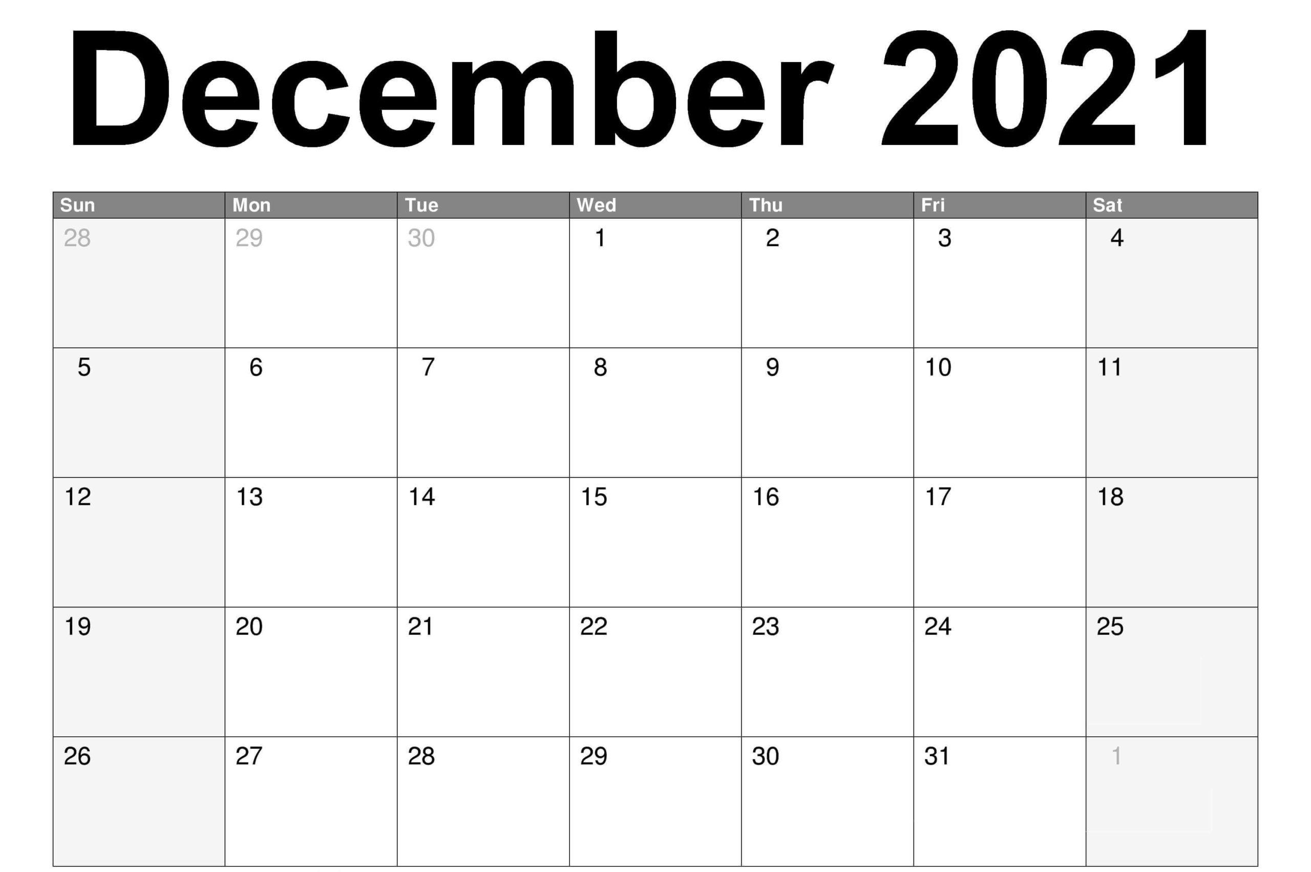 2021 December Fillable Calendar PDF