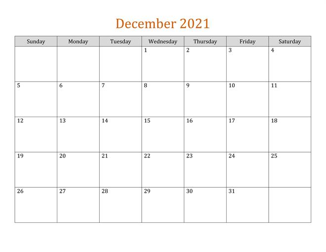 2021 December Fillable Calendar
