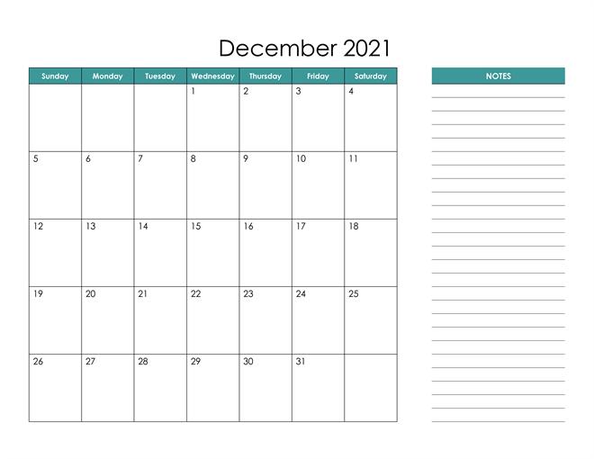Blank December 2021 Calendar Editable