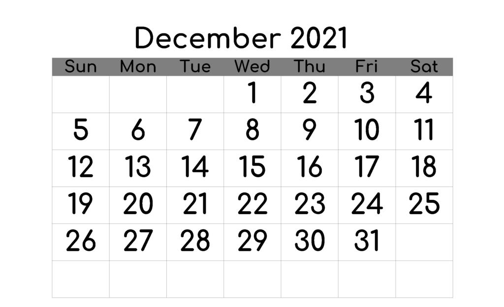Blank December 2021 Calendar Fillable