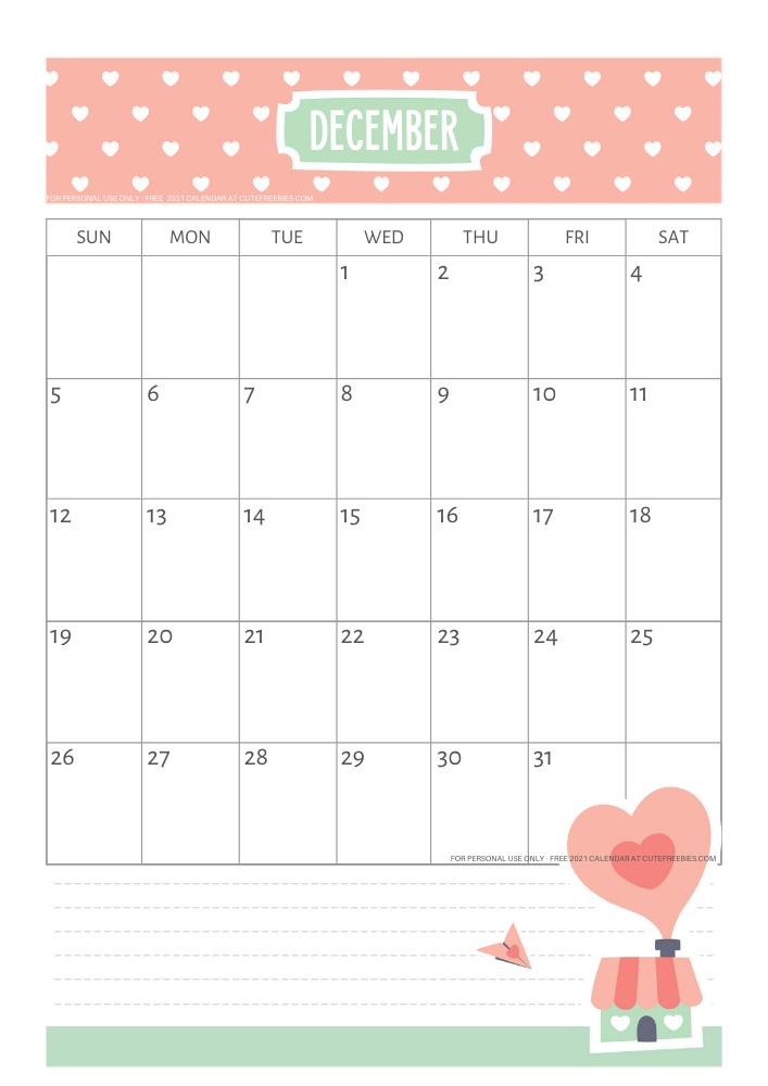 Cute December 2021 Calendar For Kids