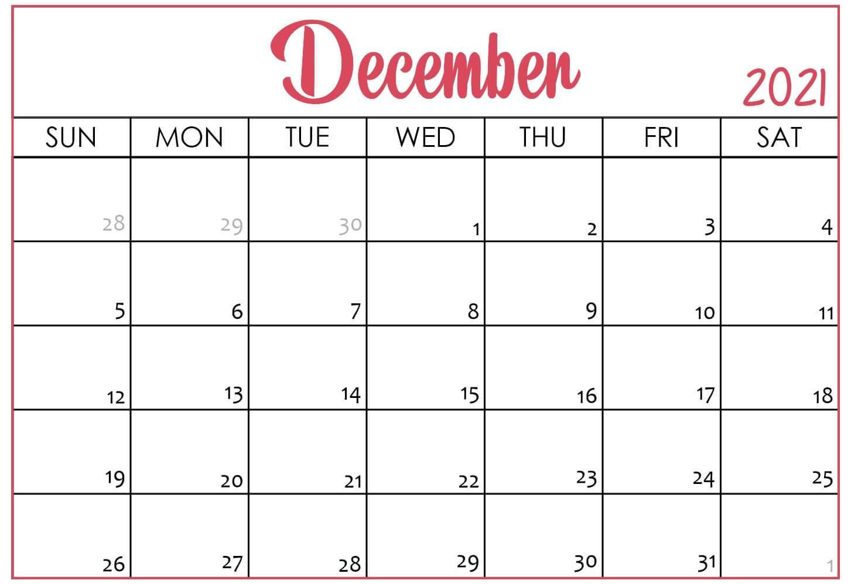 Cute December 2021 Calendar Printable