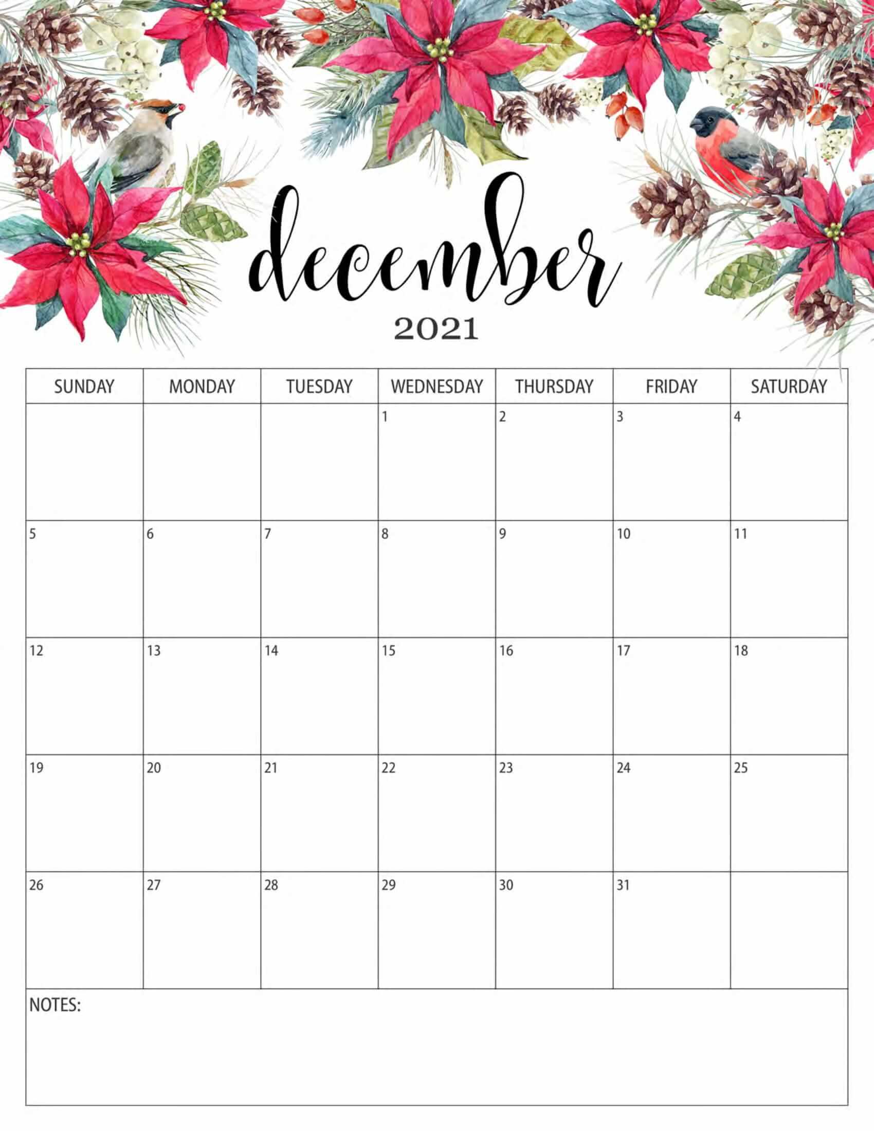 Floral December 2021 Calendar
