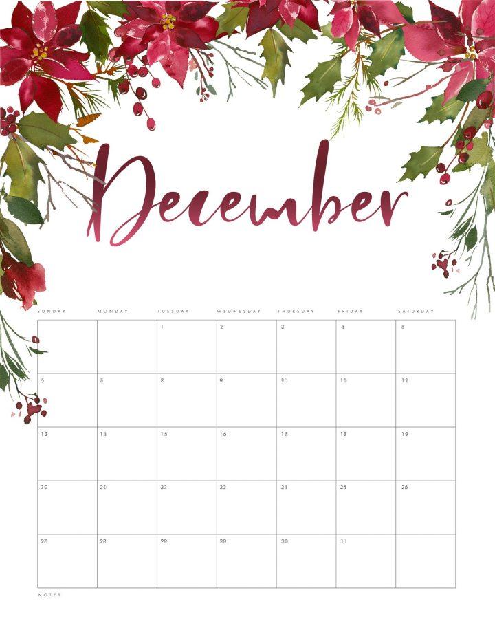 Cute December 2021 Wall Calendar Pink Design