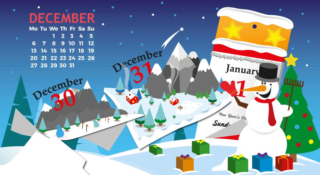 December 2021 Calendar Screensaver