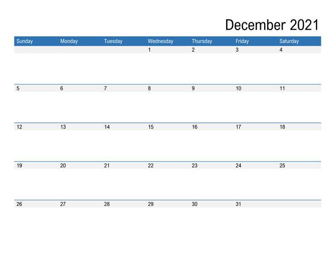 December 2021 Editable Calendar Excel