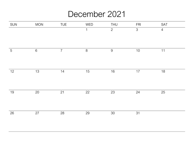 December 2021 Notes Calendar