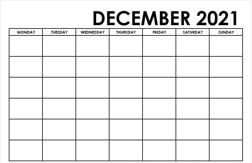 Editable December 2021 Blank Template PDF