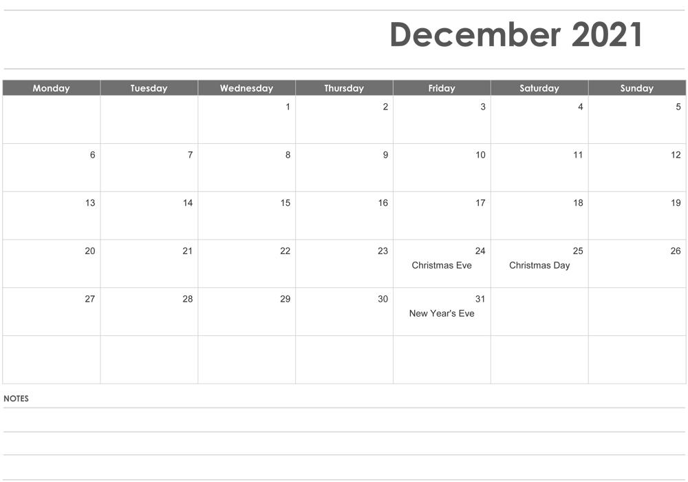 Editable December 2021 Calendar with Holidays