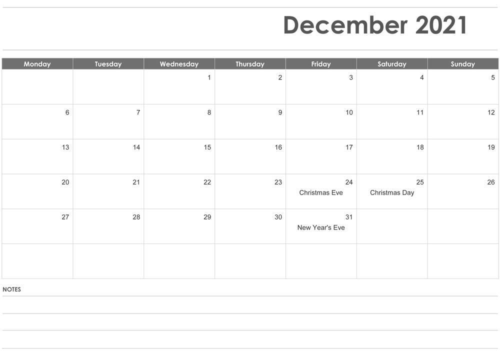 Editable December 2021 Calendar with Notes
