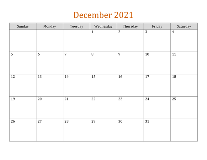 Editable December Calendar 2021