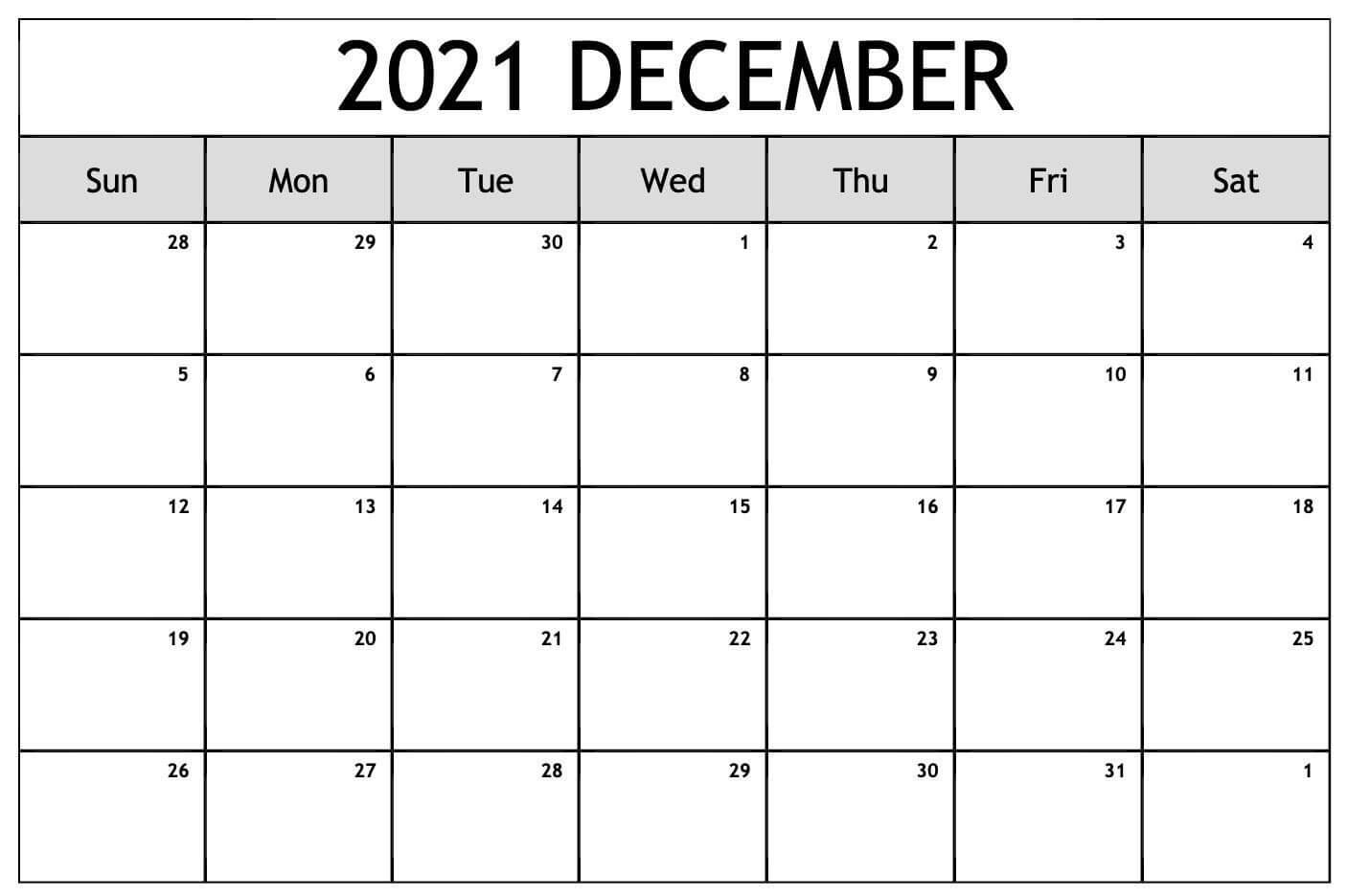 Fillable December 2021 Calendar Blank