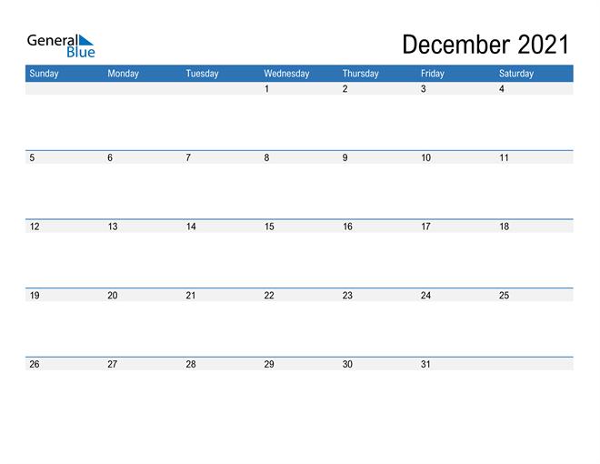 Fillable December 2021 Calendar Excel
