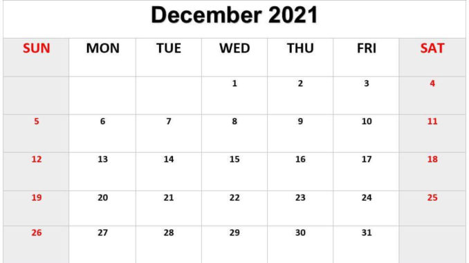 Fillable December 2021 Calendar Printable