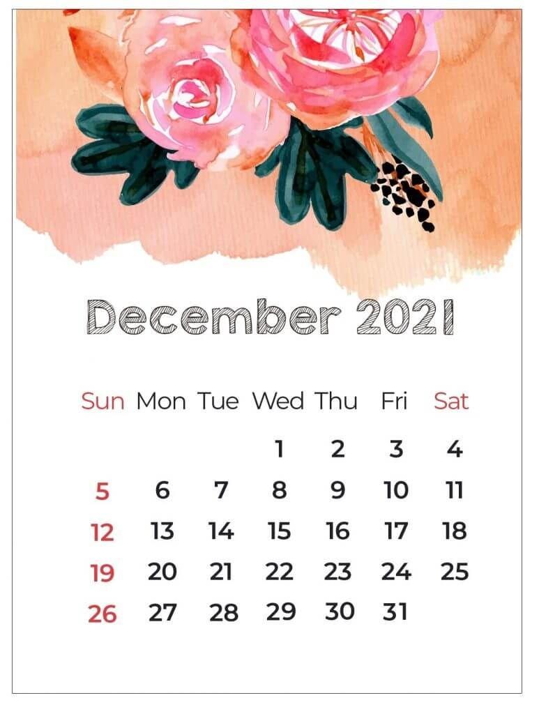 Floral December 2021 Calendar Cute
