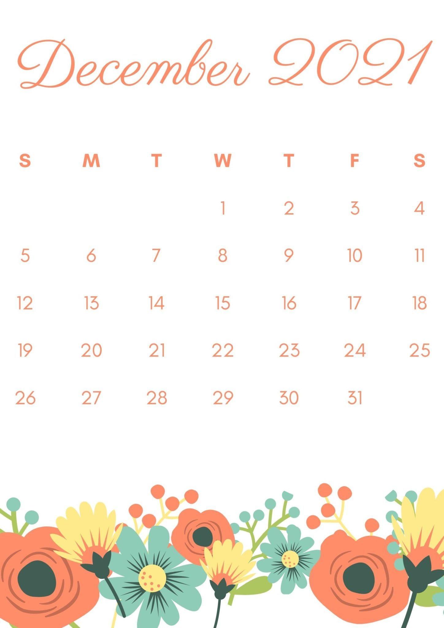 Floral December 2021 Calendar Wallpaper