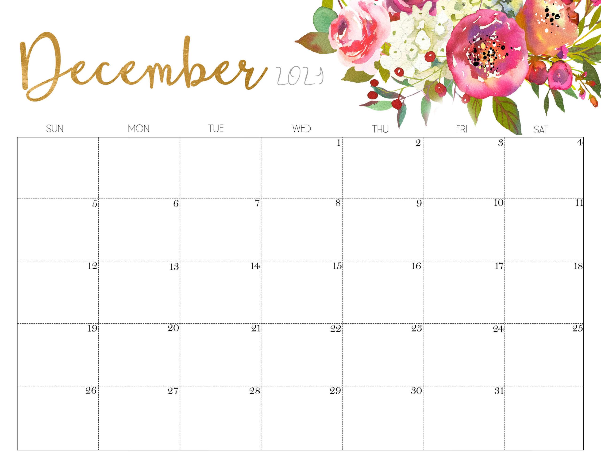 Cute December 2021 Calendar