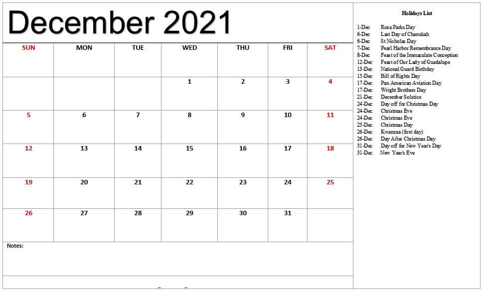 Free December 2021 Fillable Calendar with Notes