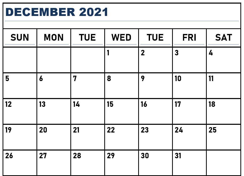 Printable December 2021 Calendar Fillable