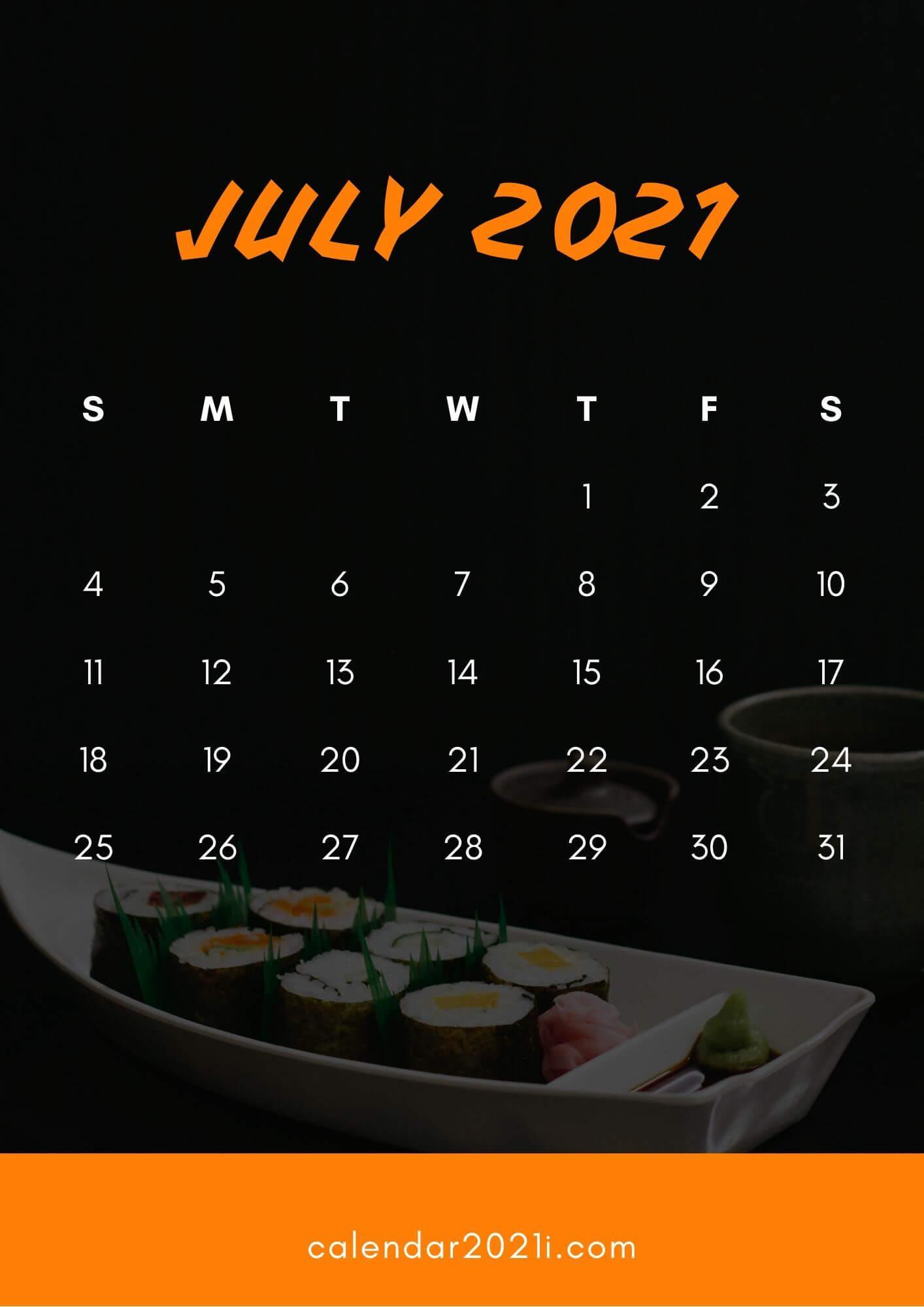 July 2021 Calendar Wallpaper
