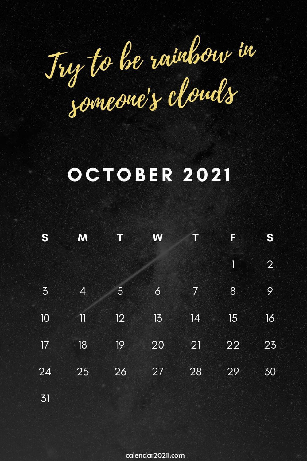 October 2021 Calendar Wallpaper