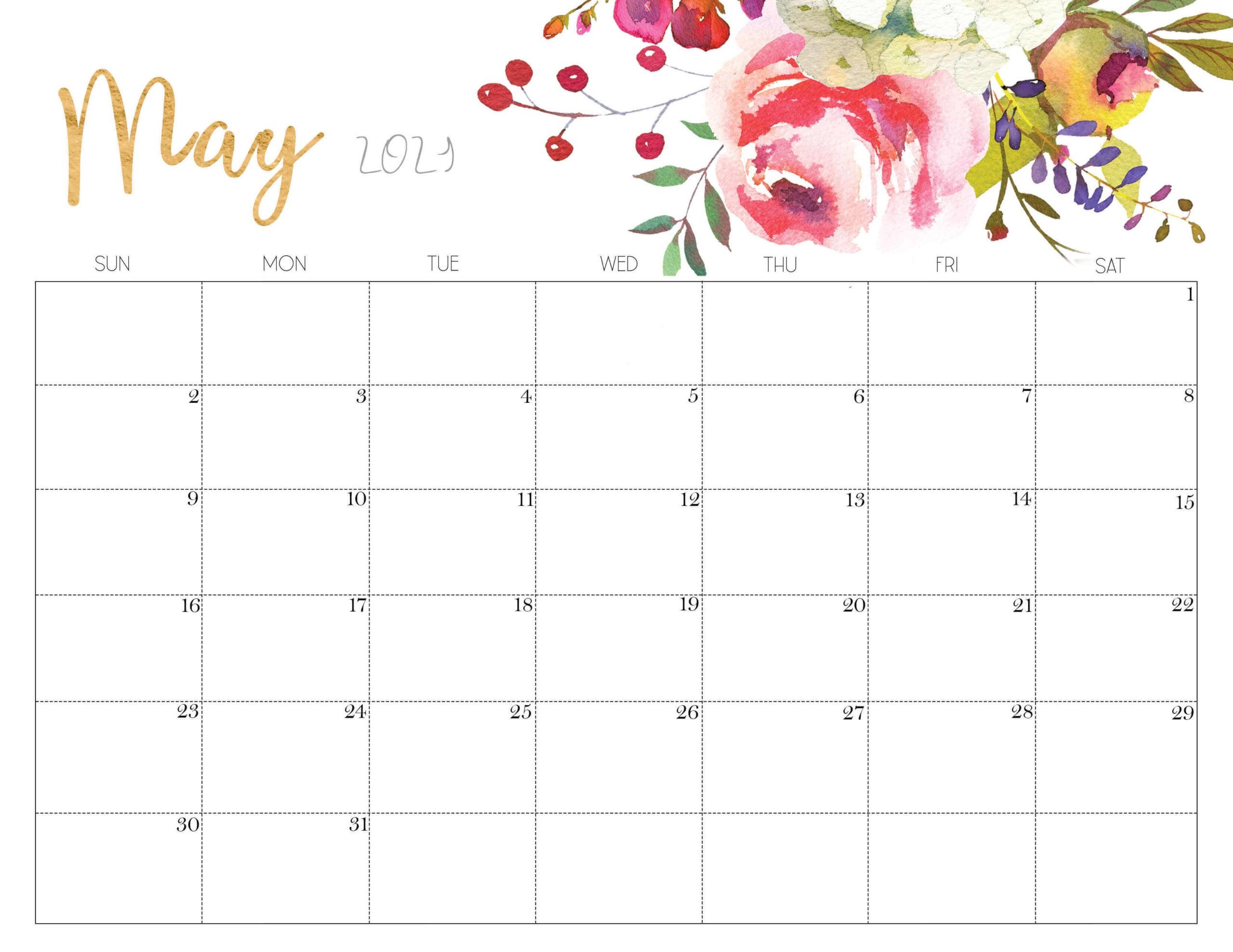 Cute May 2021 Calendar Floral