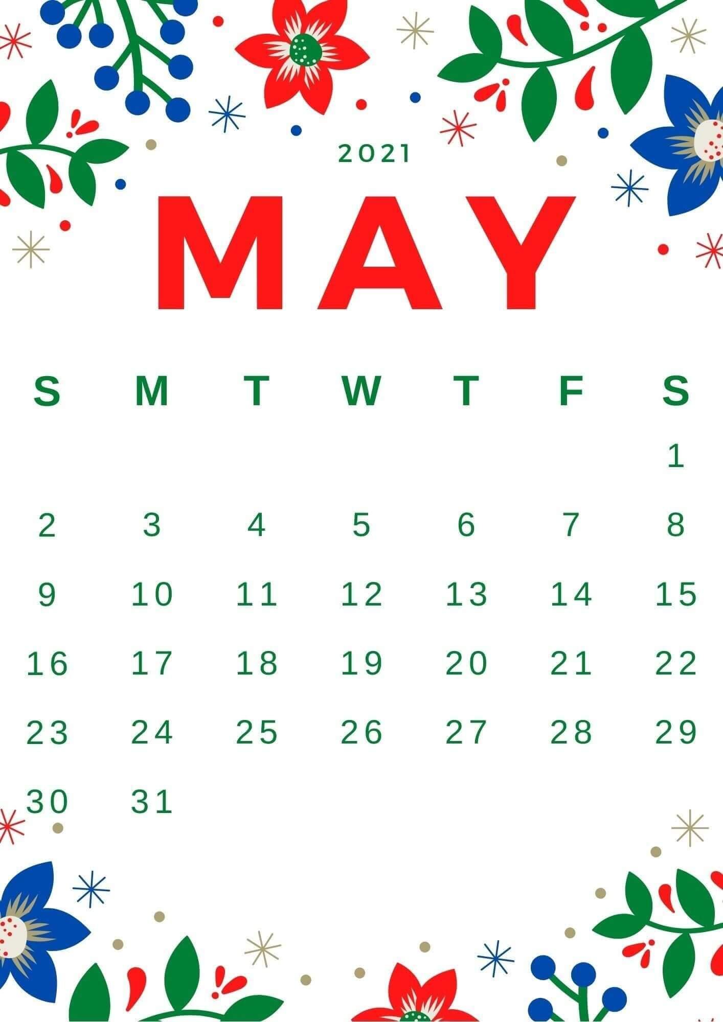 Cute May 2021 Calendar Wallpaper